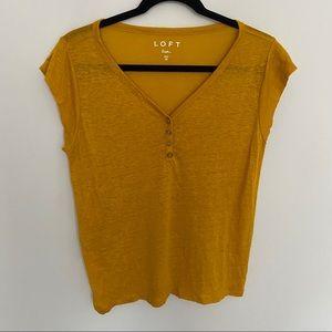 NWOT Loft Mustard Yellow Short Sleeve Linen Top